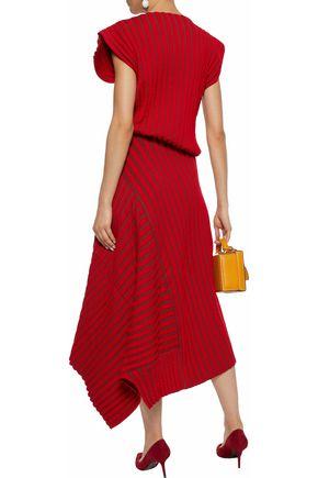 ROKSANDA Asymmetric striped ribbed-knit midi dress