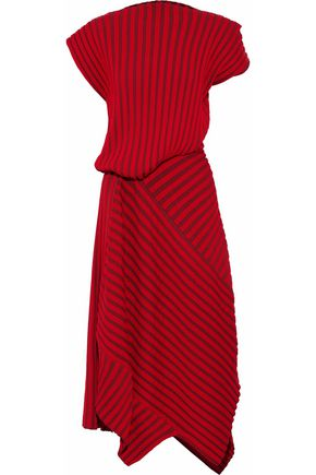 ROKSANDA Asymmetric striped ribbed-knit midi dress