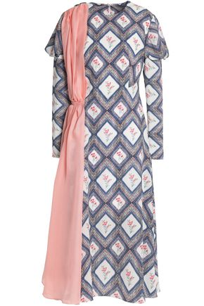 EMILIA WICKSTEAD Draped printed crepe midi dress