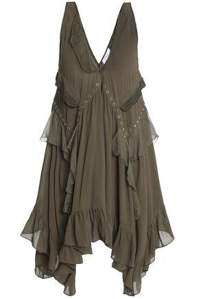 IRO Tiered eyelet-embellished crepe dress