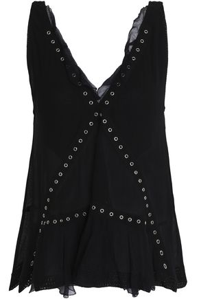 IRO Georgette-paneled eyelet-embellished gauze top