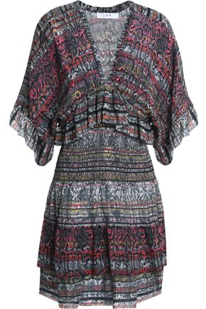 IRO Ruffle-trimmed printed silk-crepe mini dress