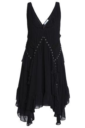 IRO Asymmetric eyelet-embellished crepe dress