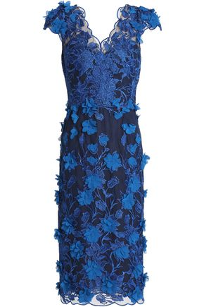 MARCHESA NOTTE Floral-appliquéd embroidered tulle midi dress