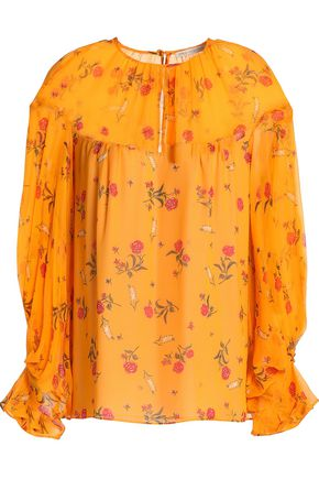 EMILIA WICKSTEAD Floral-print silk-chiffon top
