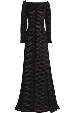 EMILIA WICKSTEAD Velvet-trimmed crepe gown