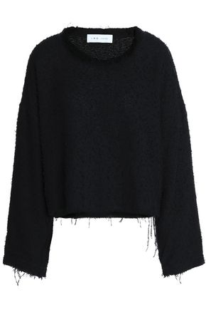 IRO Frayed cotton-blend tweed top