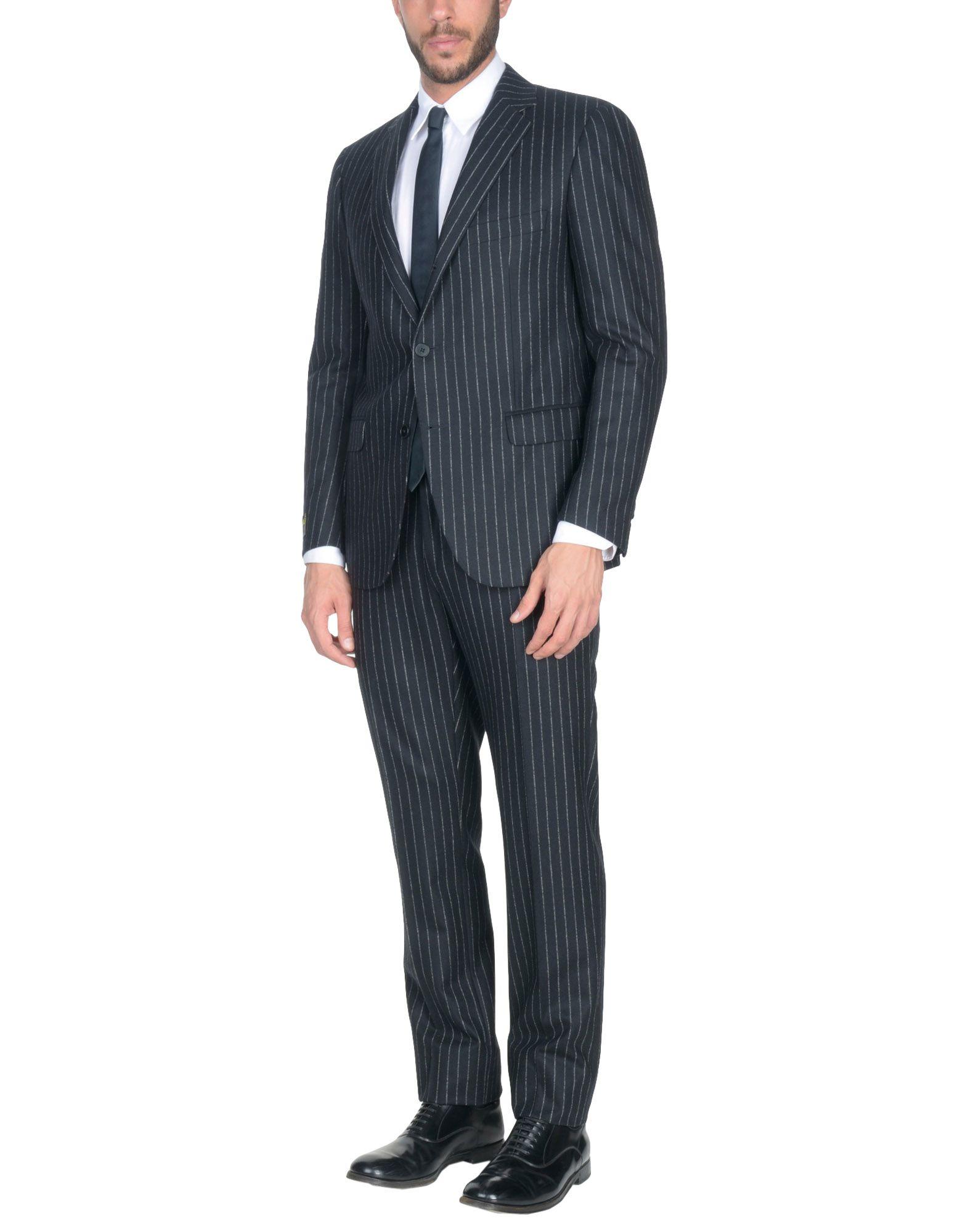 《送料無料》FLUO by RAFFAELE CARUSO メンズ スーツ ブラック 52 ウール 100%