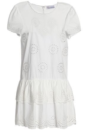 REDValentino Tiered broderie anglaise cotton mini dress