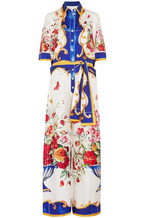 DOLCE & GABBANA Tie-front printed silk-twill jumpsuit