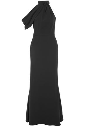 ALEXANDER MCQUEEN Asymmetric draped silk-crepe gown