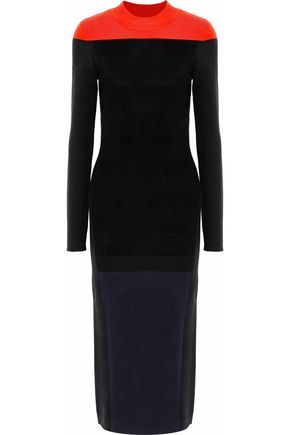 DIANE VON FURSTENBERG Brushed-paneled color-block merino wool-blend midi dress