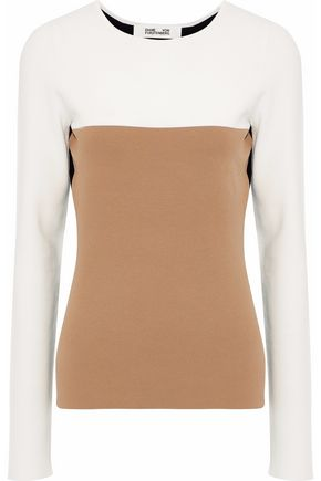DIANE VON FURSTENBERG Color-block stretch-knit top