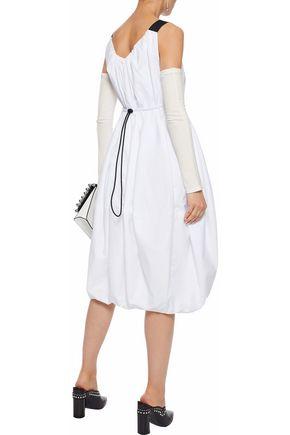 J.W.ANDERSON Jersey-paneled gathered cotton-poplin midi dress