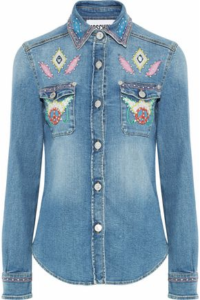 MOSCHINO Embellished faded denim shirt