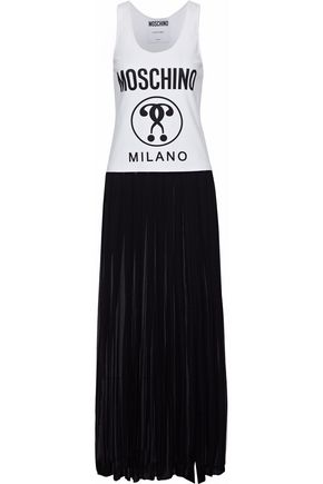 MOSCHINO Printed cotton-jersey and pleated silk-georgette maxi dress