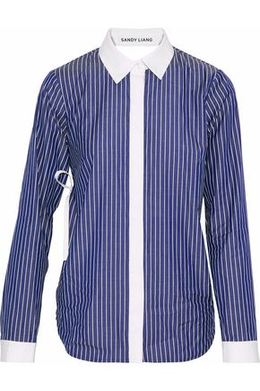 WOMAN ENZO OPEN-BACK RUFFLED STRIPED COTTON SHIRT ROYAL BLUE