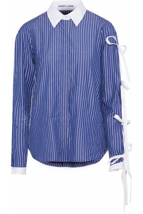 SANDY LIANG Noah bow-detailed striped cotton shirt