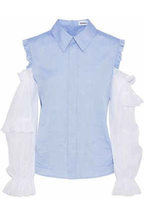 SANDY LIANG Flipper cold-shoulder poplin-paneled cotton-chambray shirt
