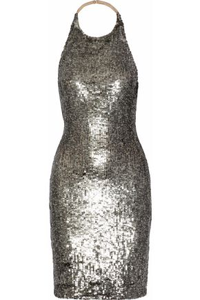 ALICE + OLIVIA Marnie metallic sequined mesh mini halterneck dress