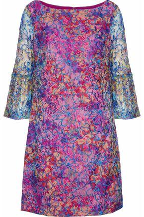 BADGLEY MISCHKA Embroidered floral-print chiffon mini dress