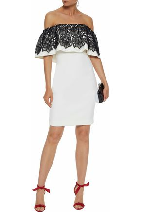 BADGLEY MISCHKA Off-the-shoulder guipure lace-paneled crepe dress