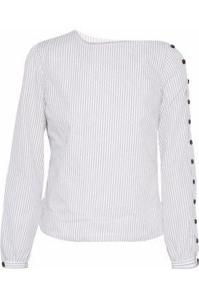 SANDY LIANG Meetings one-shoulder pinstriped cotton-poplin top