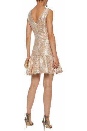 BADGLEY MISCHKA Fluted brocade mini dress