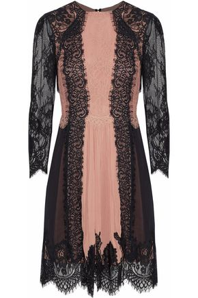 ALICE + OLIVIA Kaylen paneled georgette and corded lace mini dress