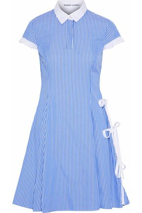 SANDY LIANG Altima bow-detailed striped cotton-poplin dress