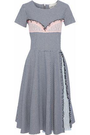 SANDY LIANG Dacia lace-paneled sequin-embellished gingham poplin dress