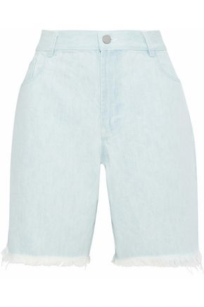 Jinkoh Frayed Denim Shorts by Sandy Liang