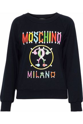 MOSCHINO Printed cotton-blend jersey sweatshirt