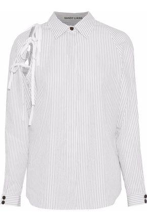 SANDY LIANG Lena lace-up pinstriped cotton-poplin shirt