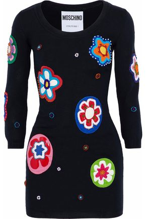 MOSCHINO Appliquéd wool mini dress