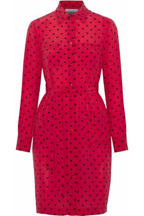 MOSCHINO Polka-dot silk crepe de chine mini shirt dress