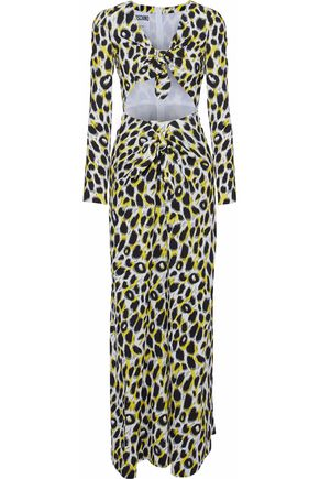 MOSCHINO Cutout leopard-print cady maxi dress