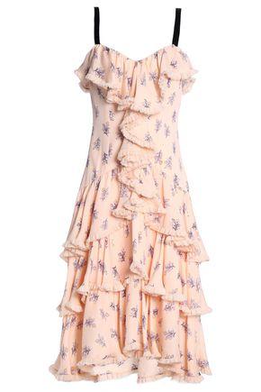 CINQ À SEPT Ruffled printed silk dress