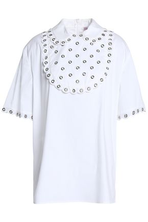 REDValentino Eyelet-embellished cotton-blend poplin top
