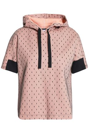 REDValentino Layered point d'esprit and French cotton-blend terry hooded sweatshirt