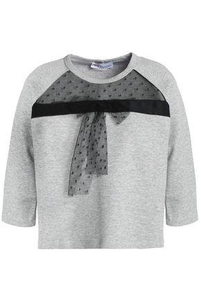 REDValentino Mesh-paneled cotton-blend terry sweatshirt