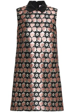 REDValentino Faux leather-trimmed metallic jacquard mini dress