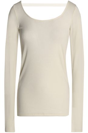 HELMUT LANG Cutout modal and cotton-blend jersey top