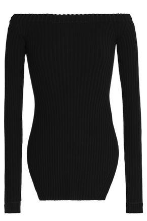 HELMUT LANG Off-the-shoulder ribbed silk-blend top