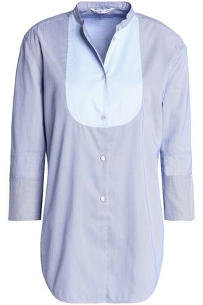HELMUT LANG Paneled pinstriped cotton-poplin shirt