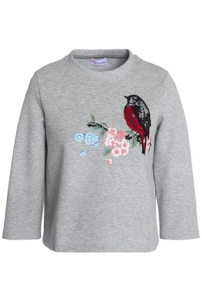 REDValentino Embroidered cotton-terry sweatshirt