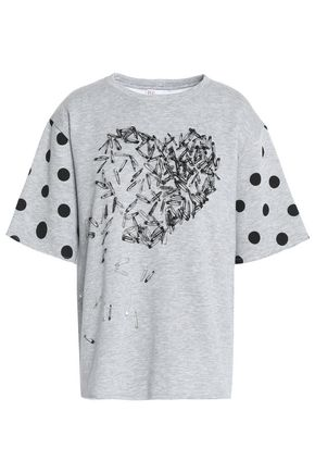 REDValentino Embellished printed French cotton-blend terry T-shirt
