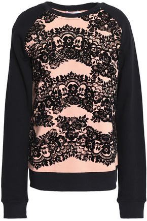 REDValentino Flocked printed cotton-blend French terry sweatshirt