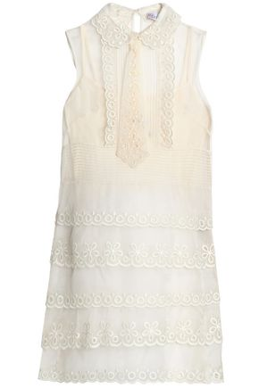REDValentino Embroidered silk-organza mini dress