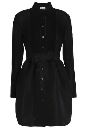 REDValentino Bow-embellished silk-blend mini dress